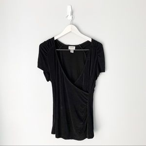 Chico's black wrap front top